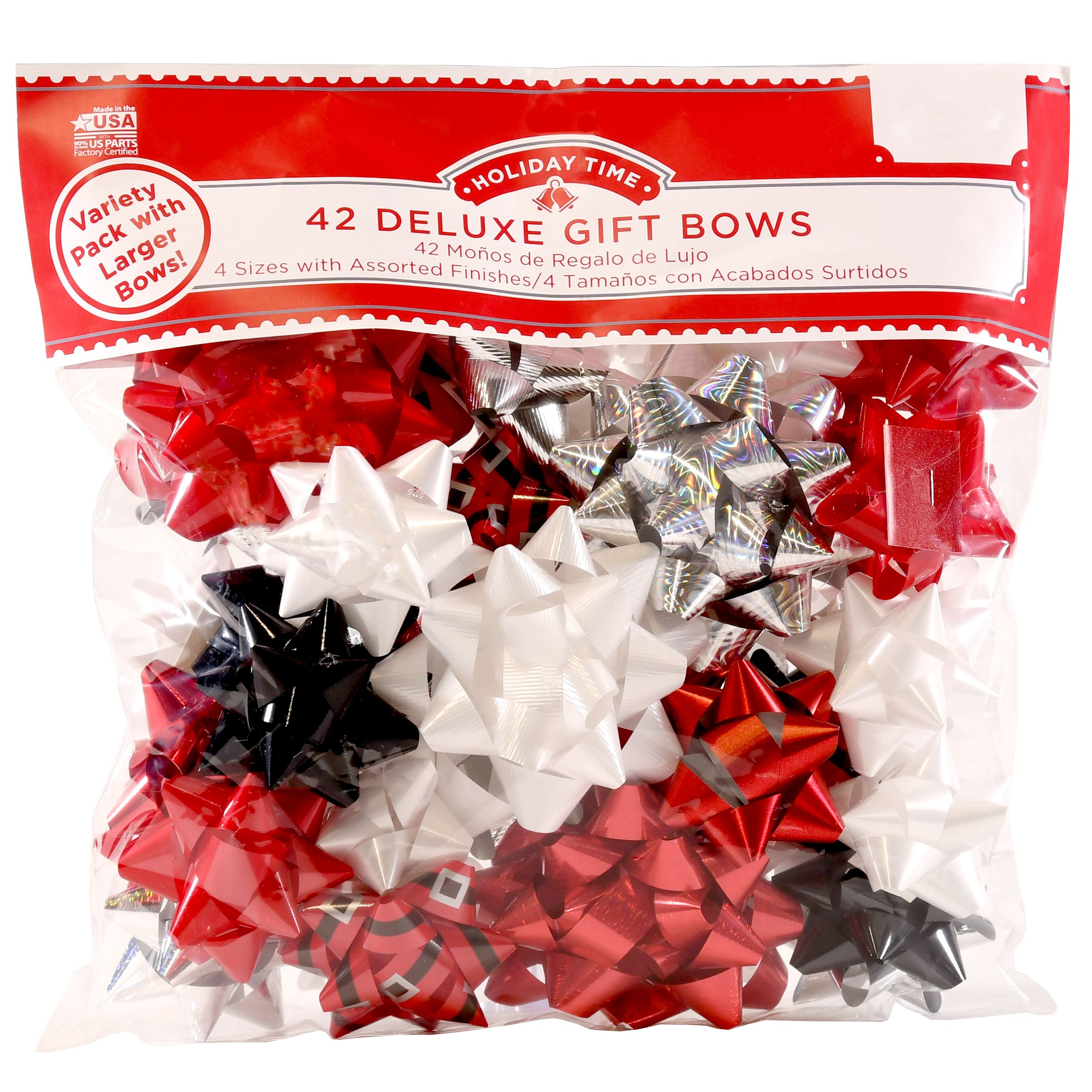 42 COUNT GIFT BOW ASSORTMENT - RED/WHITE/BLACK