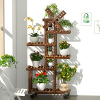 (With Planting Tools Kit) Garden Decor Multi Tier Wooden Plant Stand Flower Pot Shelf Bonsai Display Storage Rack Holder Outdoor Indoor With/Without Wheel