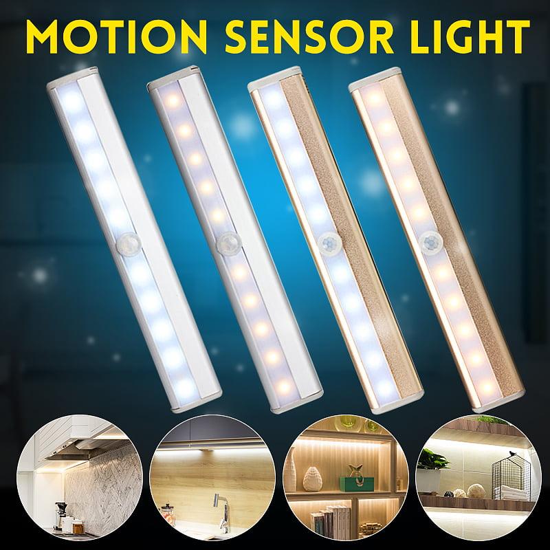 Wireless Battery Powered PIR Motion Sensor LED Night Light Lamp Wall Wardrobe ON