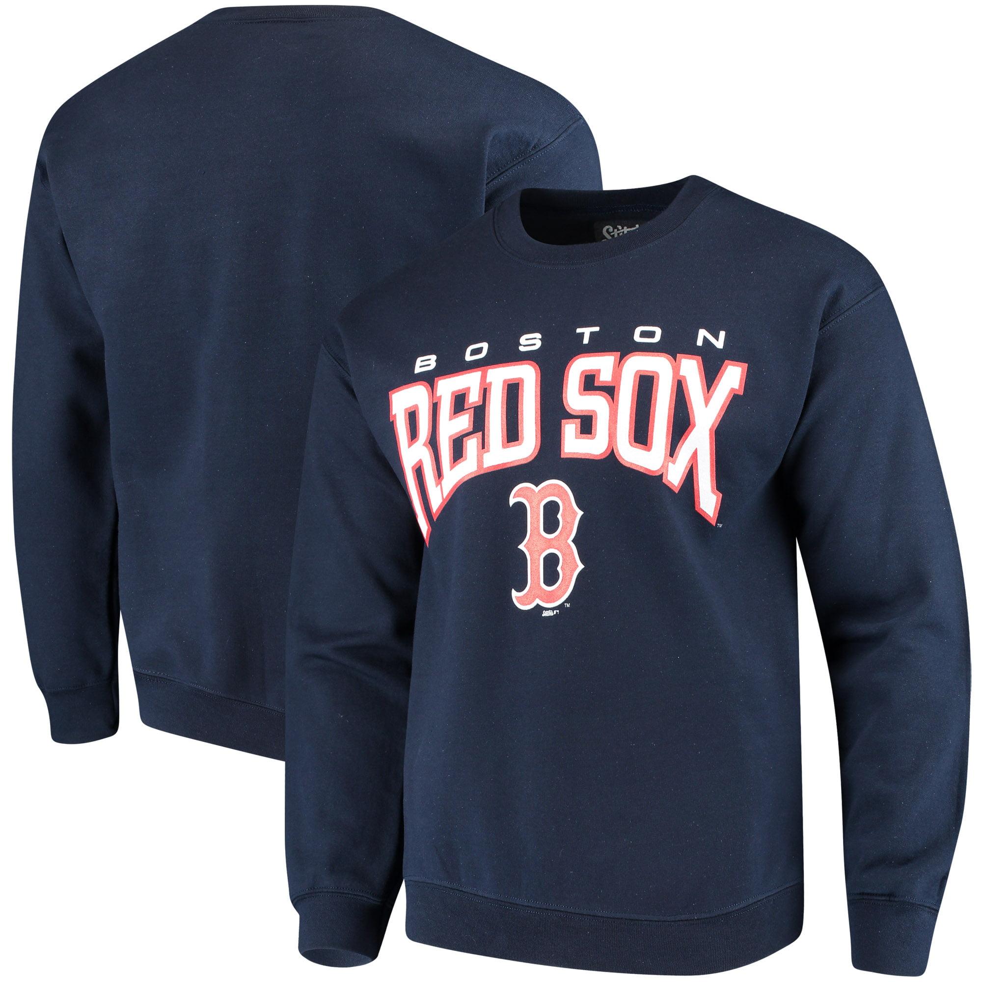 Boston Red Sox Stitches Pullover Crew Sweatshirt - Navy
