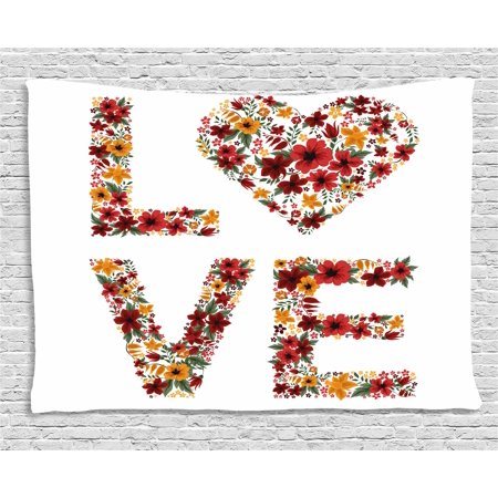 Valentines Day Decor Tapestry, Garden Fowers Romantic Love Letters Hears Image Couple Theme Print, Wall Hanging for Bedroom Living Room Dorm Decor, 60W X 40L Inches, Multicolor, by - Themes For Couples