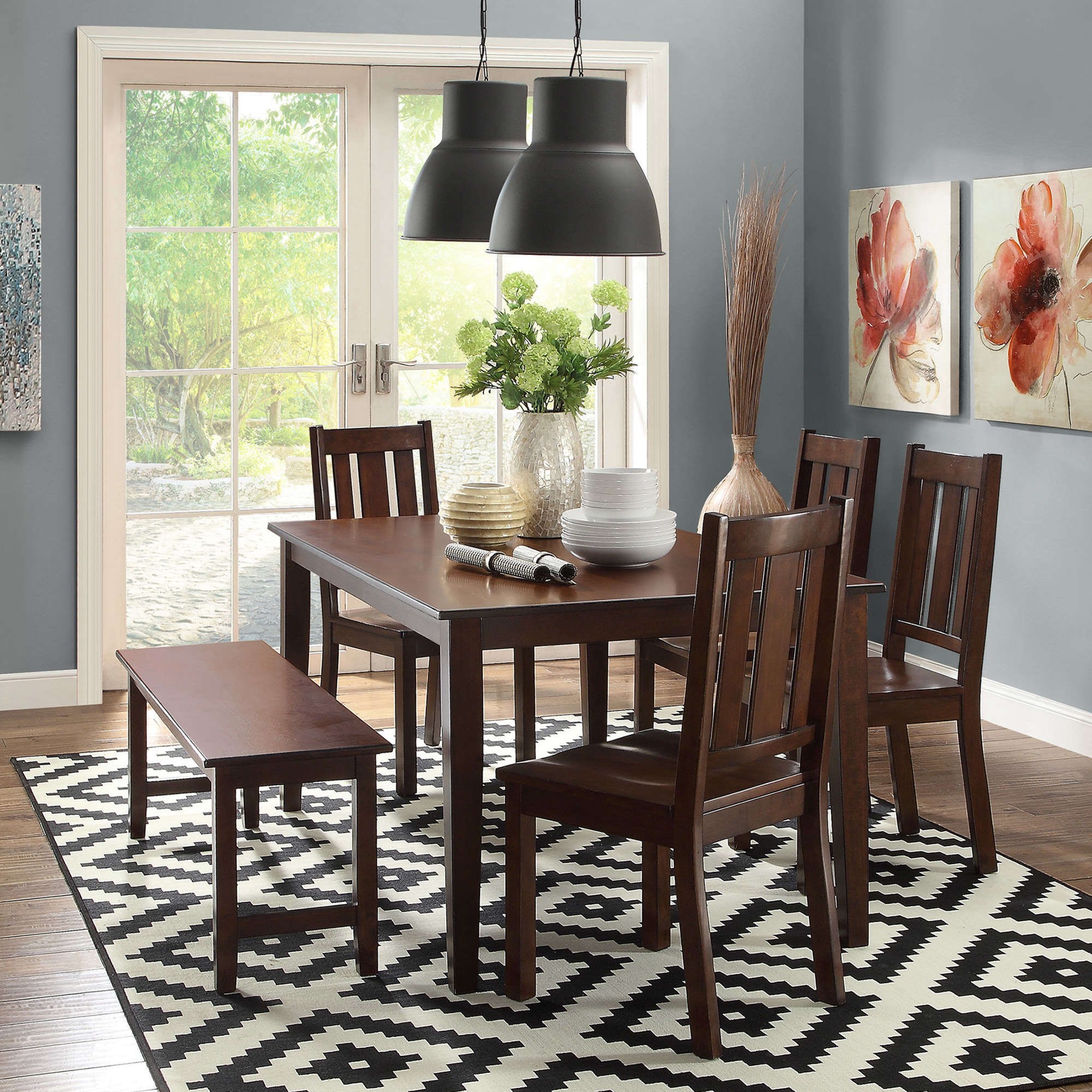 6 piece dining room set wood table 4 chairs bench solid wooden furniture dinner