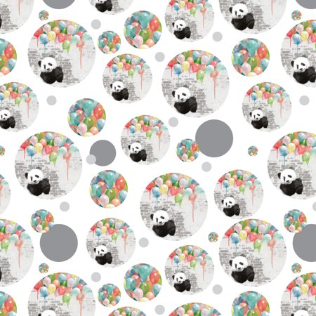 Panda Bear with Colorful Rainbow of Balloons Premium Gift Wrap Wrapping Paper Roll Chicago Bears Wrapping Paper