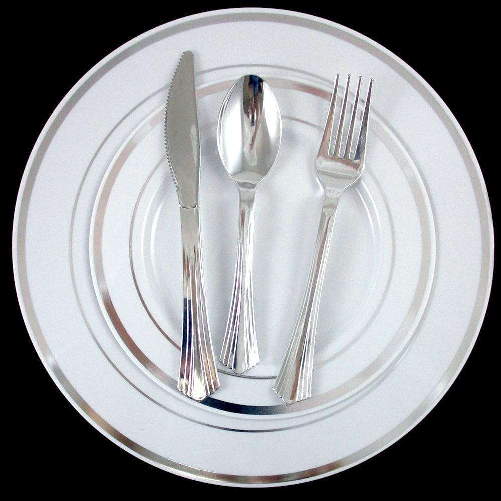 "Bulk Dinner Wedding Disposable Plastic Plates Silverware Party Silver Rim 10"" 7"""