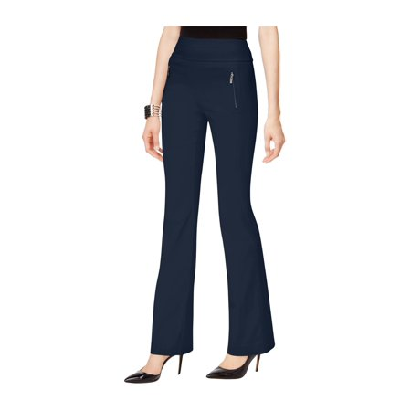 INC Womens Navy Zippered High-rise Boot Cut Wear To Work Pants  Size: 4 (Cut Zipper)