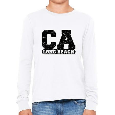 Long Beach, California CA Classic City State Sign Boy's Long Sleeve T-Shirt