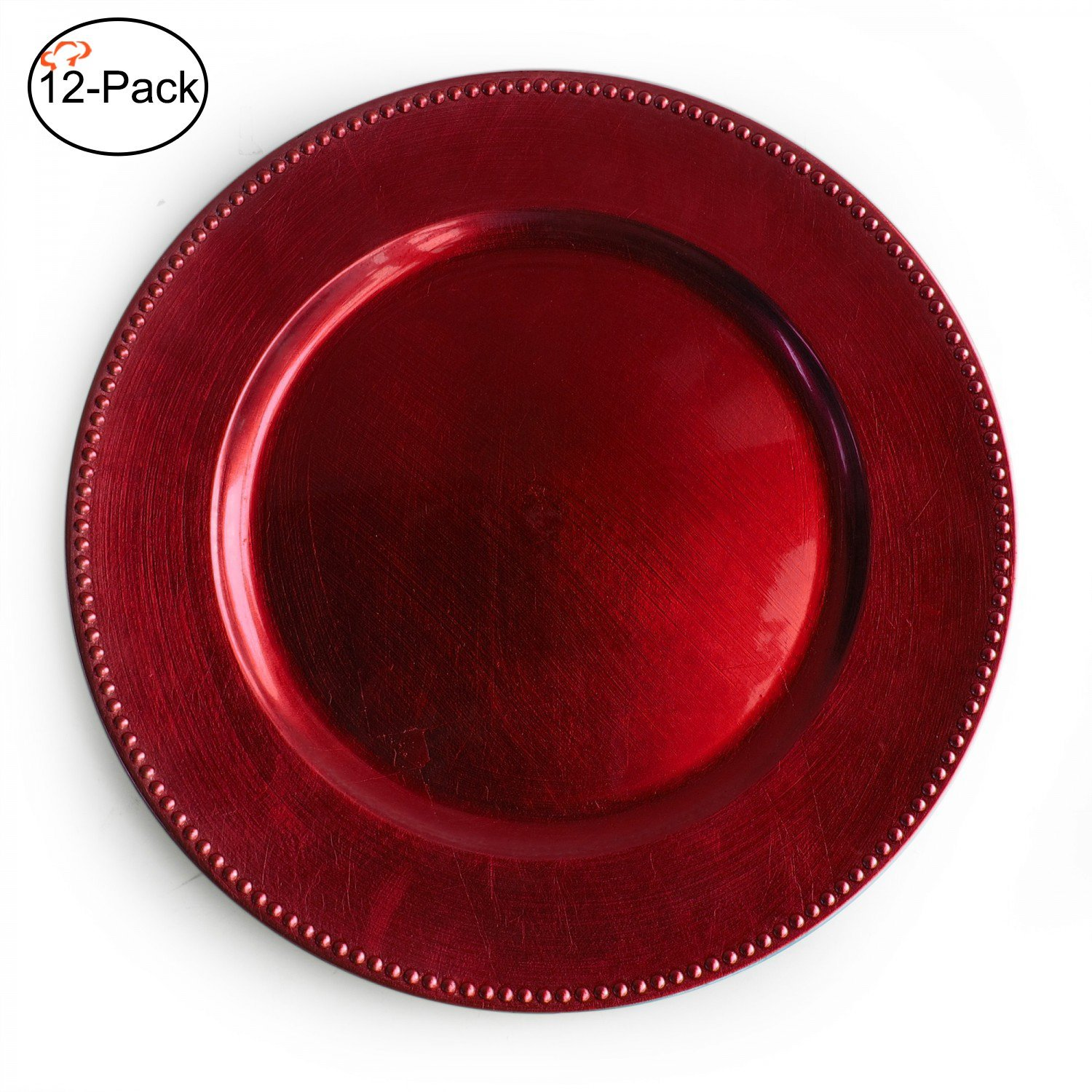 13 Inch Red Round Beaded Charger Plates, Set Of 2,4,6, 12 Or 24 Dinner  Chargers (12 Pack),   ELEGANT DINING: The Metallic Lacquer And Beaded Trim  Along The ...