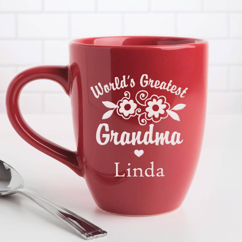 World's Greatest Grandma - Personalized Red Bistro Coffee Mug