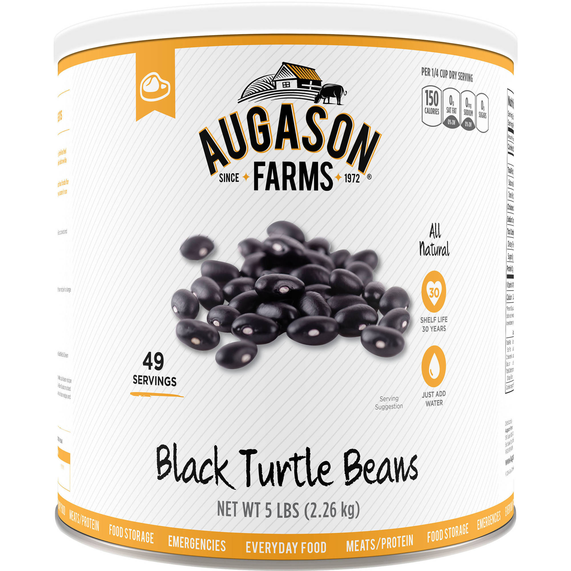 Augason Farms Black Turtle Beans, 5 lbs