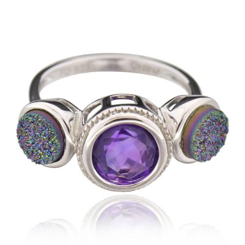 Sterling Silver Round Amethyst Ring Sterling Silver Round Amethyst Ring Sz 8