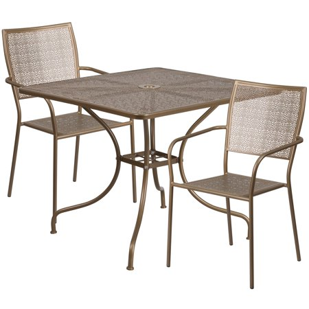 Flash Furniture 35.5'' Square Indoor-Outdoor Steel Patio Table Set with 2 Square Back Chairs Multiple Colors ()