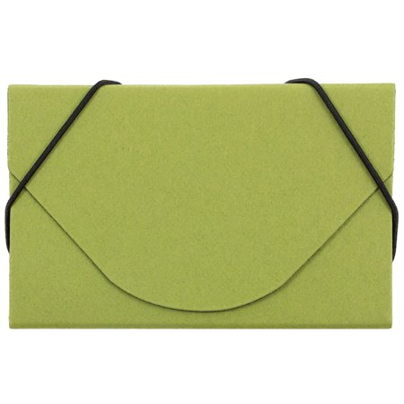 JAM Paper Ecoboard Business Card Case with Round Flap, 3 1/2 x 2 1/4 x 1/4, Lime Green Kraft, Sold -