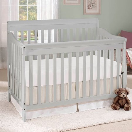 Big Oshi Stephanie 4-In-1 Convertible Crib – Modern, Unisex Wood Design for Boys or Girls – Adjustable Height, Low to High - Convertible to Crib and Day, Toddler or Twin Bed - With Hardware, Grey