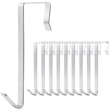 IPOW 10 Pack Stainless Steel Over the door Hooks Racks Hangers Extra Strong Heavy Duty Hook Organzier Holder for Wide / Narrow Door Hanging Wreath, Coat, Towel, Purses, Hats, Scarves](Wreath Hangers For Doors)