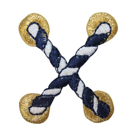 ID 2686B Striped Nautical Rope Patch Cord Knot Tie Embroidered Iron On Applique - Nautical Tie