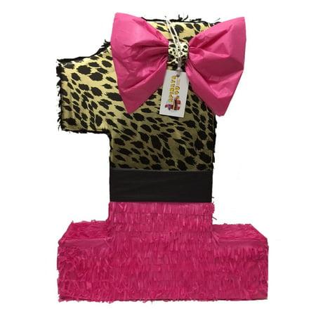APINATA4U Large Hot Pink & Cheetah Print Number One Pinata - Cheetah Pinata