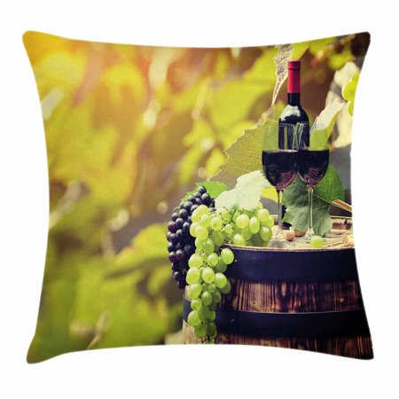 Wine Throw Pillow Cushion Cover, Agriculture Country Theme Natural Landscape Product Alcoholic Drink Fruit, Decorative Square Accent Pillow Case, 18 X 18 Inches, Light Green Black Brown, by Ambesonne for $<!---->