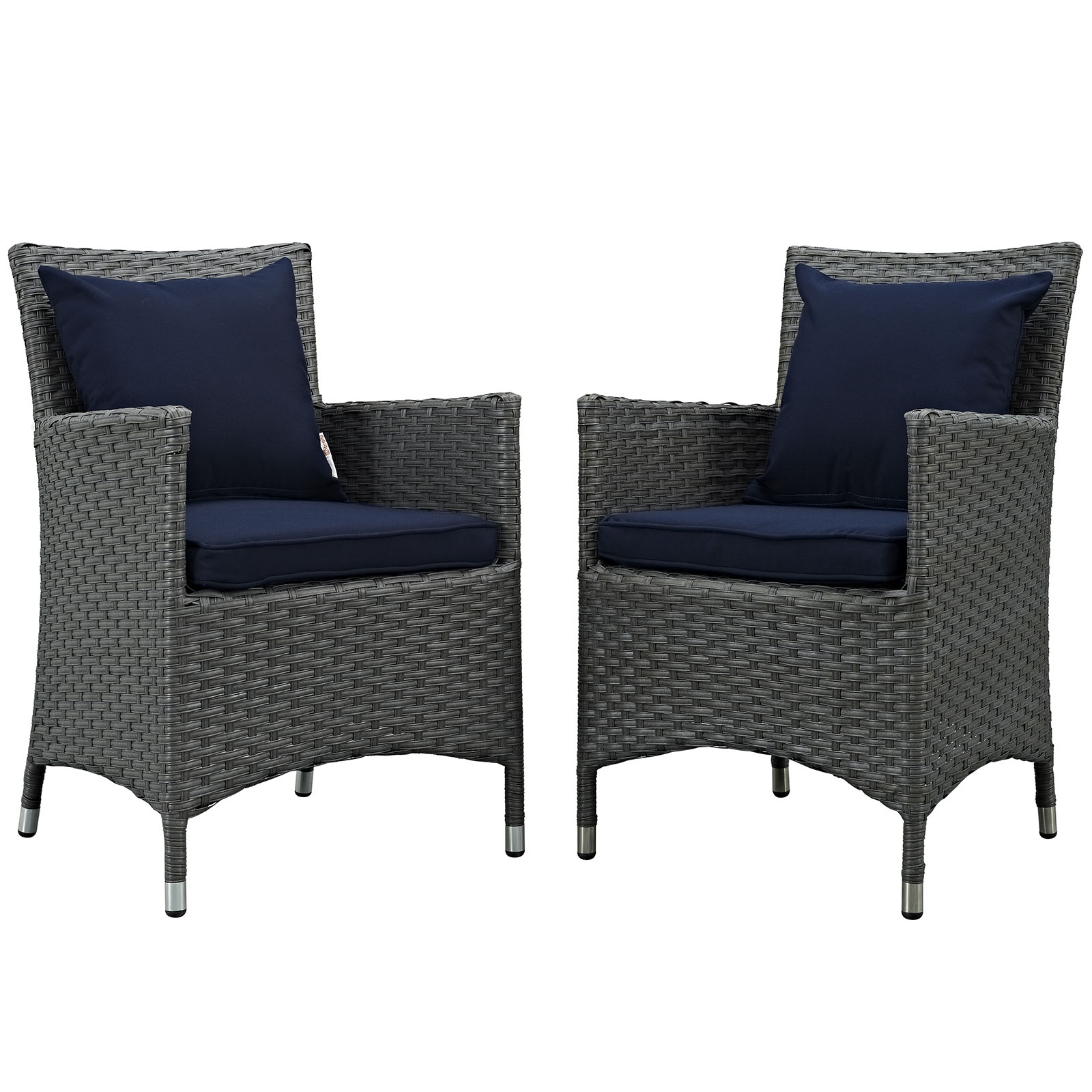 Modern Contemporary Urban Design Outdoor Patio Balcony Dining Chair ( Set  Of Two), Navy Blue, Rattan