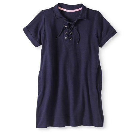 - Girls' School Uniform Stretch Pique Knit Dress