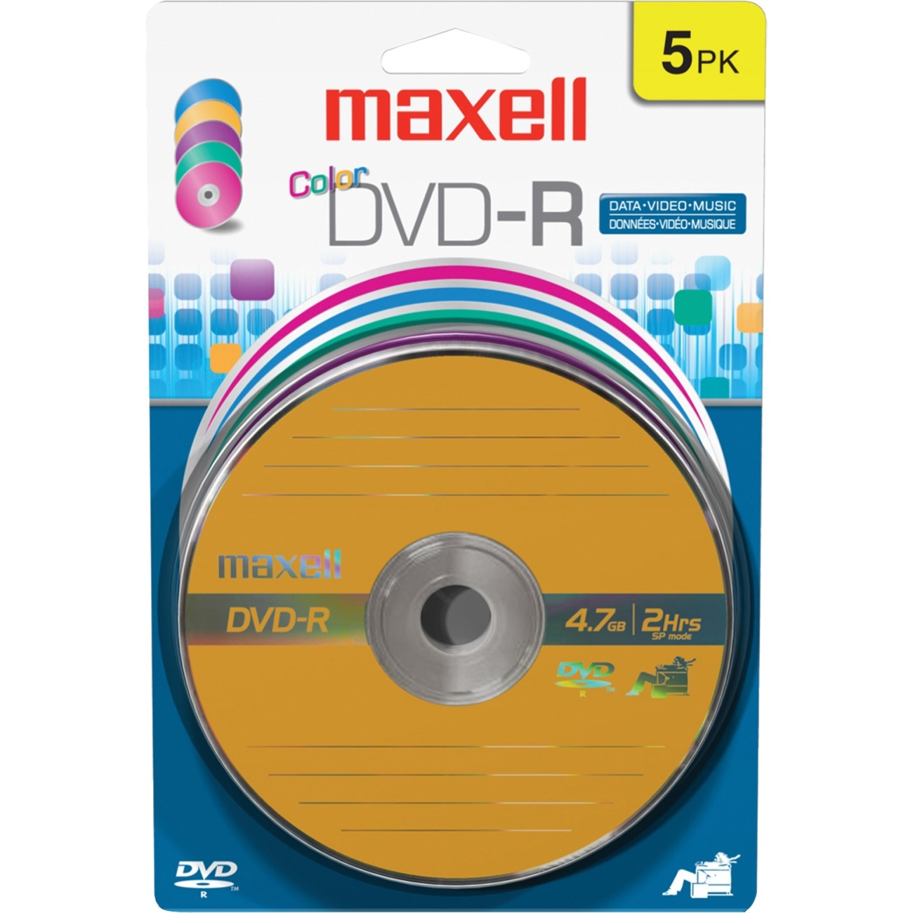 Maxell 16x DVD-R Media - 4.7GB - 120mm Standard - 5 Pack Blister Pack