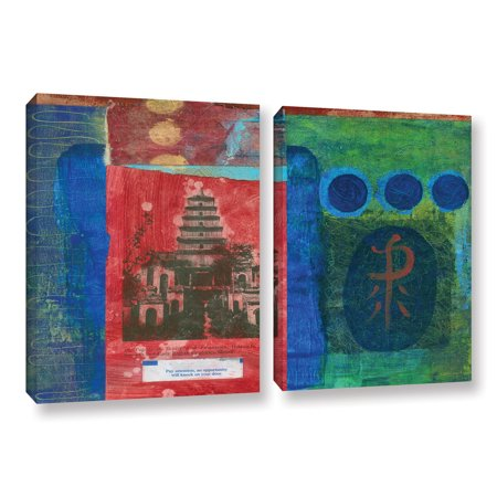 'Magenta Orchid' 2 Piece Gallery Wrapped Canvas Art Print Set, 24x36