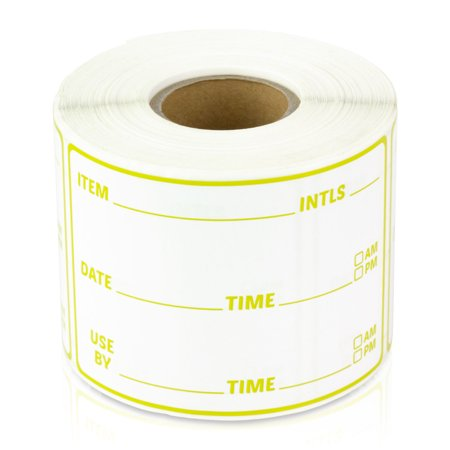 "OfficeSmartLabels 3"" x 2"" Restaurant Inventory Labels for Food Rotation, Kitchens or Food Trucks (Yellow, 300 Labels per Roll, 10 Rolls)"