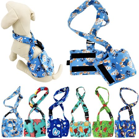 "Pack of 6 Colors WASHABLE Dog Diapers for MALE Boy FLEECE Belly Band Reusable with SUSPENDER size X-Small (waist: 8"" - 10"")"