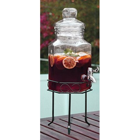 Palais Glassware Clear Glass Octagon Beverage Dispenser - 1.5 Gallon, with Glass Lid and Metal Stand (Standard) ()