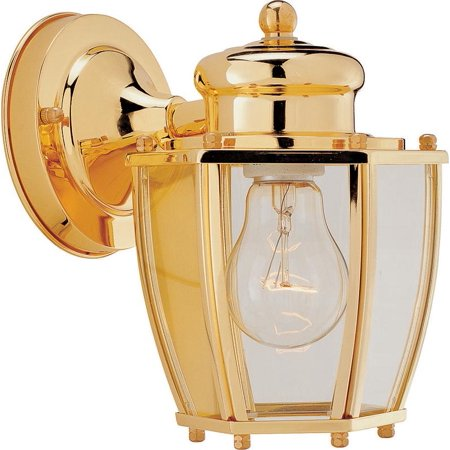 Boston Harbor Dimmable Outdoor Lantern, (1) 60/13 W Medium A19/Cfl Lamp, Polished Brass