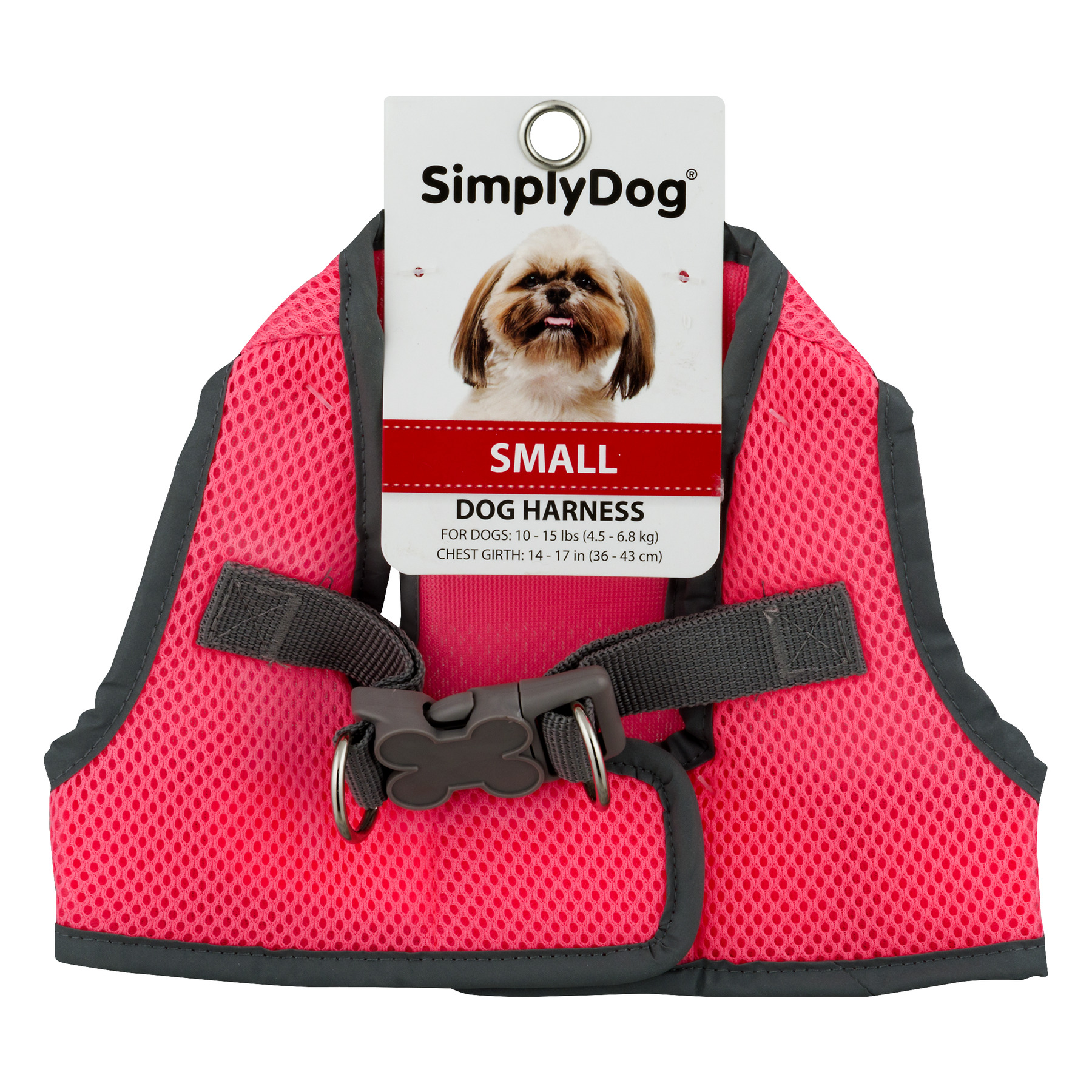 Simply Dog Small Neon Knockout Pink Reflective Dog Body Harness, Color May Vary
