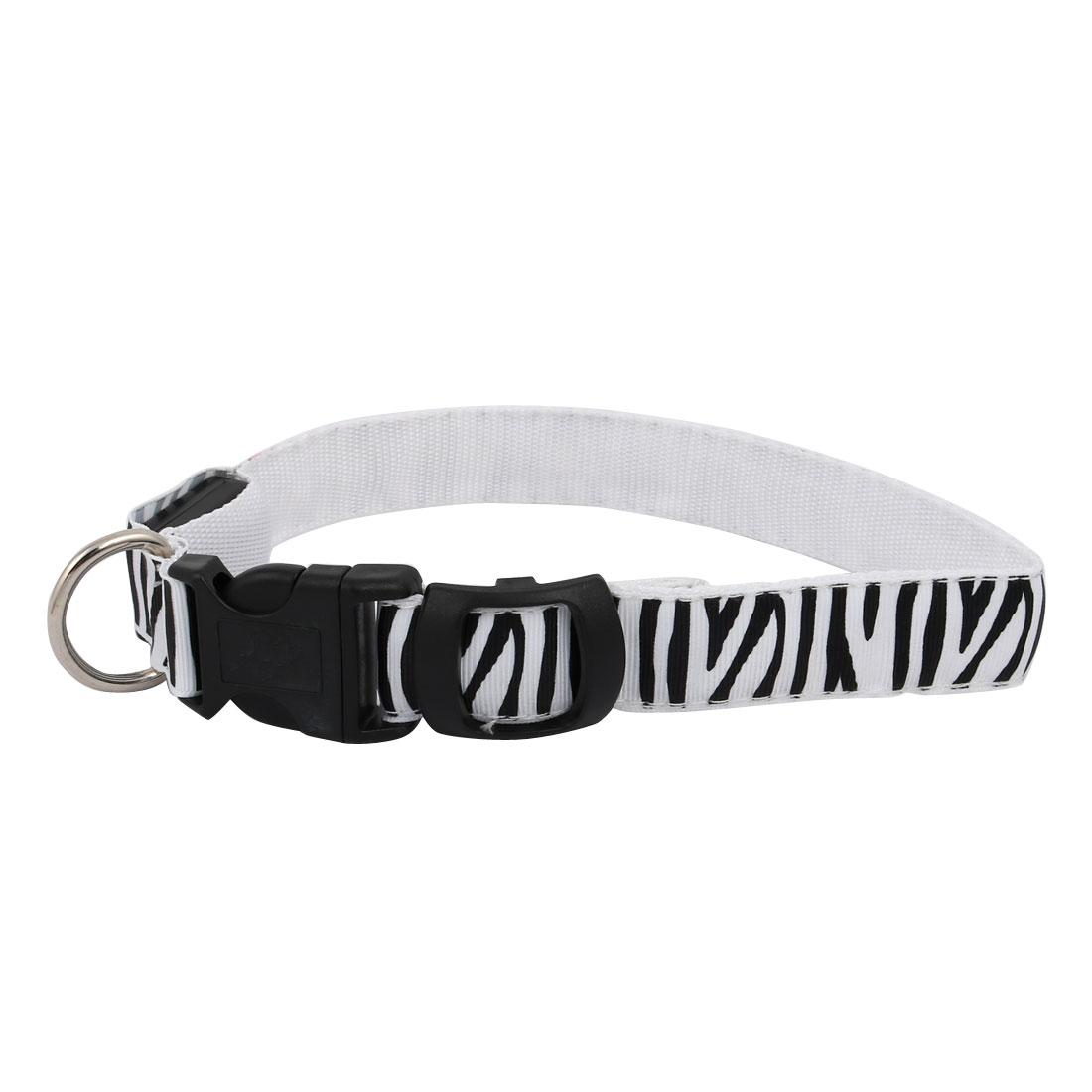 Unique Bargains White LED Light Flashing Safety Nylon Zebra-Stripe S Size Pet Dog Neck Collar - image 2 de 5