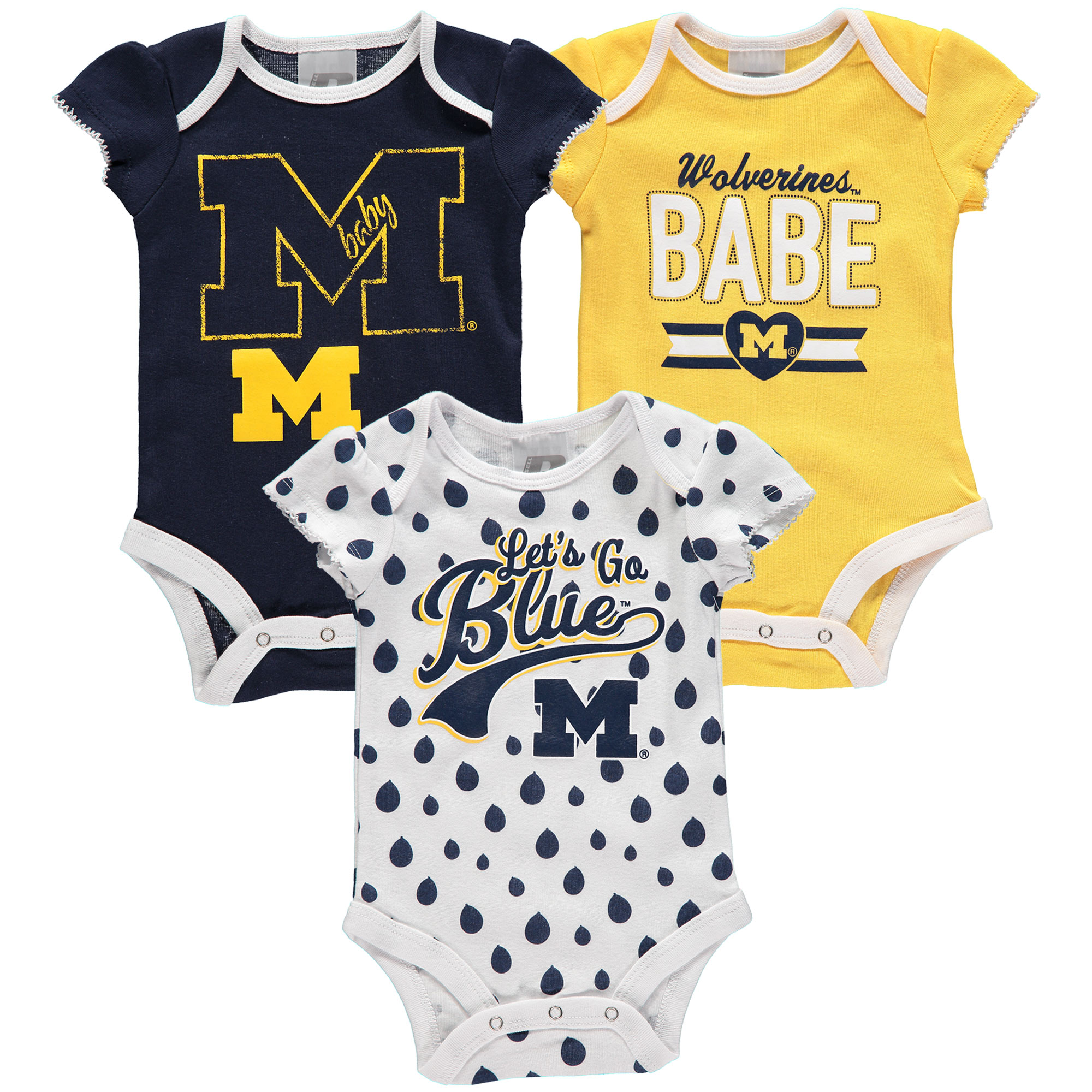 Girls Newborn & Infant Russell Navy Michigan Wolverines Three-Pack Bodysuit Set
