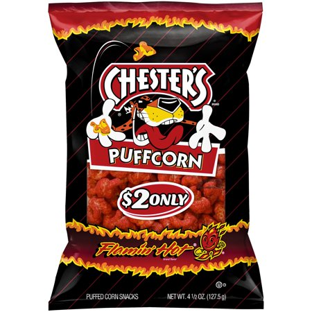 Chesterâ s ® Flaminâ Hot ® Puffcorn Puffed Corn Snacks $2 Prepriced 4.5 oz. Bag