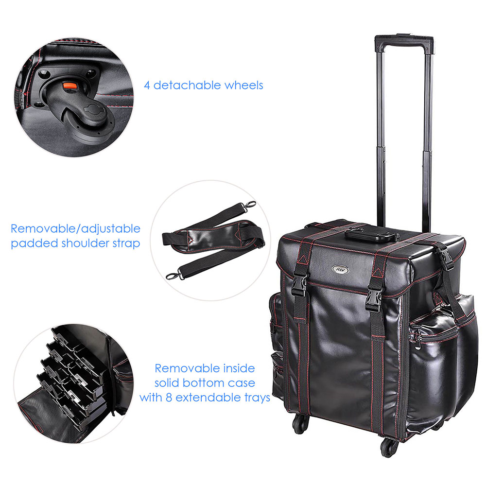 "AW Black Soft-sided Rolling Makeup Case 17x14x22"" Cosmetic Train Bag Travel Show Party"