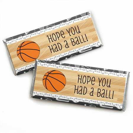 - Nothin' But Net - Basketball - Candy Bar Wrappers Party Favors - Set of 24
