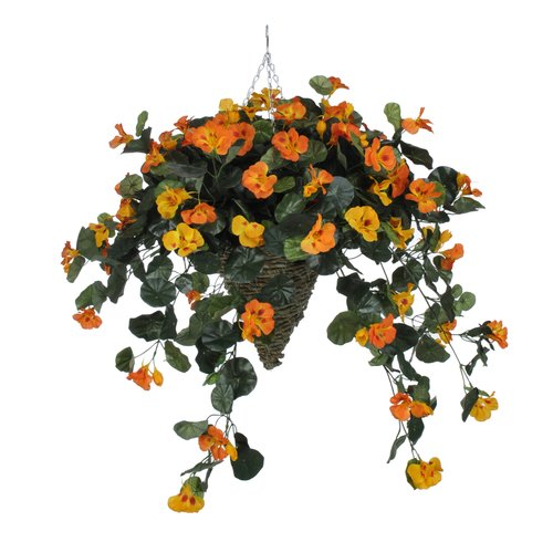 Charlton Home Faux Nasturtium Floral Arrangement in Cone Planter