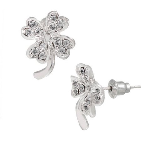 Pave Clear Crystal Swarovski Elements 14kt White Gold-Plated Clover Stud Earrings