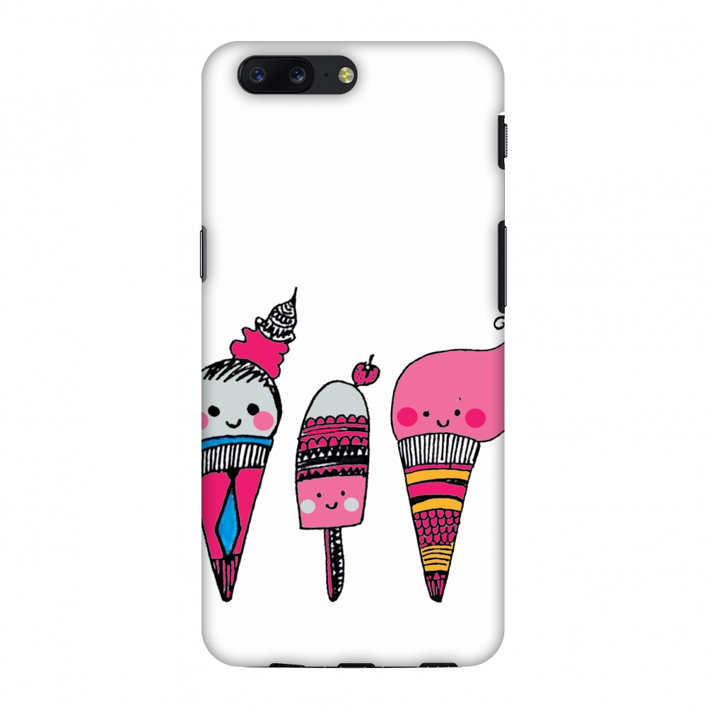 OnePlus 5 Case - Ice Creams, Hard Plastic Back Cover, Slim Profile Cute Printed Designer Snap on Case with Screen Cleaning Kit