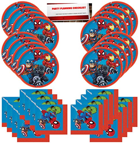 Marvel Super Hero Adventures Party Supplies Bundle Pack for 16 Guests (Plus Party Planning Checklist by Mikes Super Store) - Marvel Superheroes Party Supplies