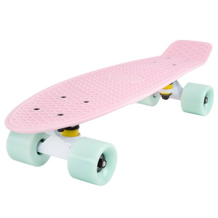 Cal 7 Complete Mini Cruiser Skateboard, 22 Inch Plastic in Retro Design - Eye Complete Skateboard