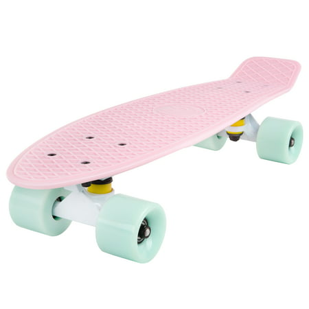 Cal 7 Complete Mini Cruiser Skateboard, 22 Inch Plastic in Retro Design (Lotus) - Mini Boards