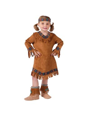 Fun World Baby Girl's Native American Toddler Girl Costume, Brown, Large(3T-4T)