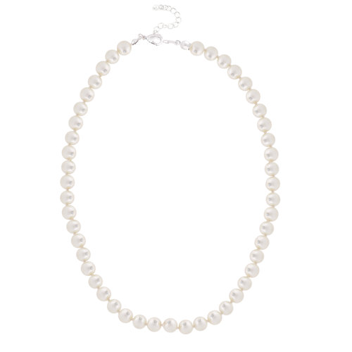 Faux Pearl Single Strand Pearl 8MM Fashion Necklace, 17 1/2