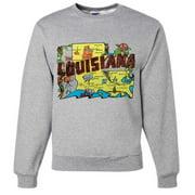 Vintage State Sticker Louisiana Crewneck Sweatshirt