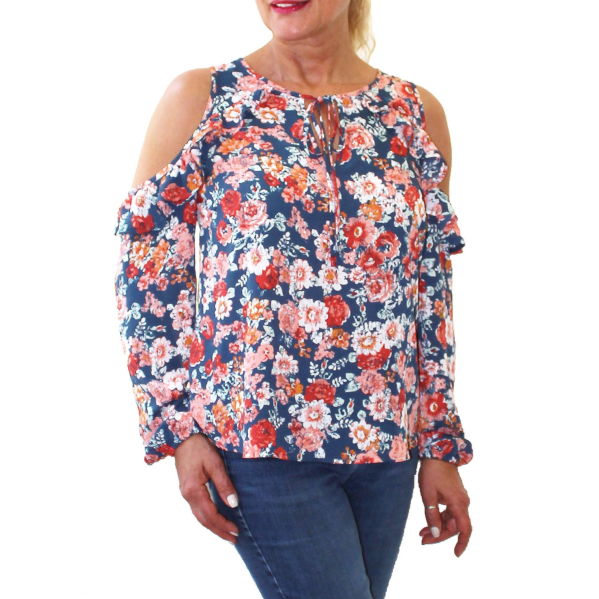 Women's Cold Shoulder Floral Top by Me Jane Ltd