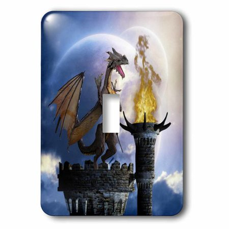 3dRose A dragon guard a castle in the night a torch fire light up the castle, Single Toggle Switch