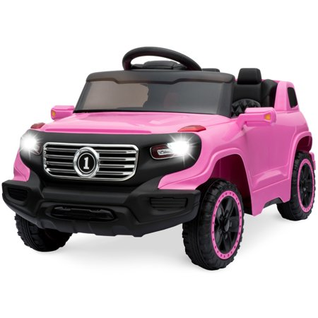 Best Choice Products Kids 6V Ride On Truck w/ Parent Remote Control, 3 Speeds, LED Lights, Pink (Truck W Camper)