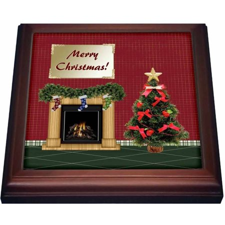 3dRose Christmas Tree, Fireplace with Stockings, Merry Christmas, Trivet with Ceramic Tile, 8 by 8-inch