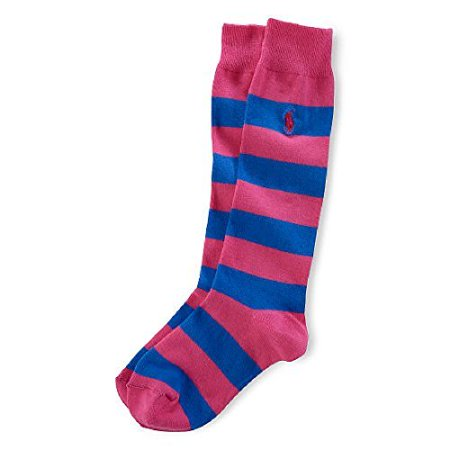 •Ralph Lauren Girls Rugby Knee-High Socks Size 9-11 fit shoe sizes 4-10 ()