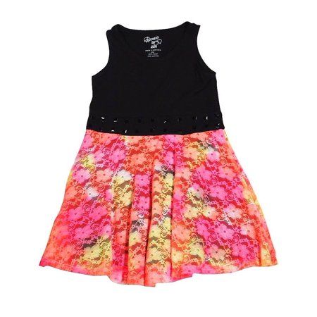 Flowers by Zoe - Little Girls Sleeveless Dress - 18 Styles and Colors Available Black Multi Lace / - Zoe Ltd Dress